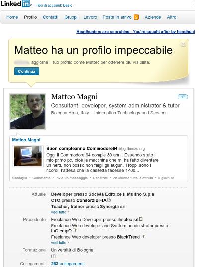 Matteo Magni su Linkedin